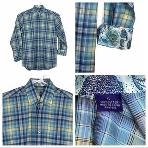Brand New Alan Flusser Plaid Flip Cuff Button Down